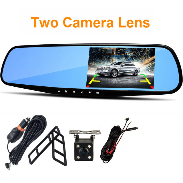 POPNOW Car Dvr Camera Led Lights Blue Rearview Mirror FHD 1080P Night Vision Video Recorder Dual Lens Auto Registrator Dash Cam