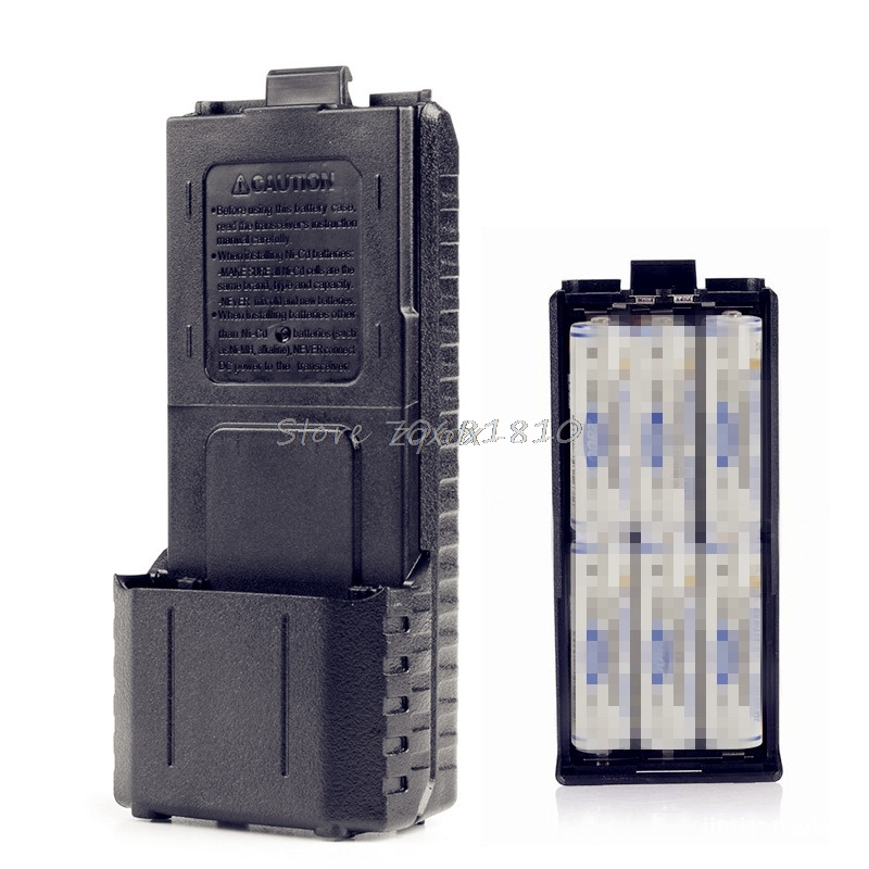 6xAA Battery Case Shell Box For Two Way Radio Baofeng UV-5R UV-5RE Plus Black Z09 Drop ship bao feng s 2015 baofeng 5re walkie talkie 136 174