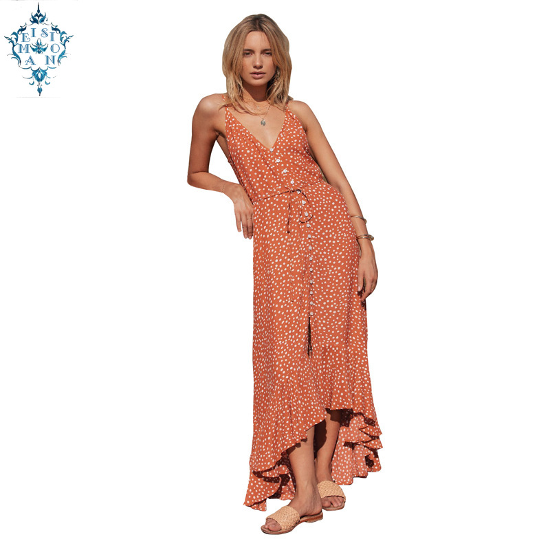 Ameision Womens Summer street dress 2019 fashion Wave Button Bohemia Sleeveless V-Neck Halter Dot Casual beach Dresses