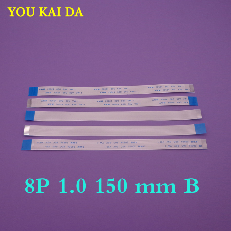 30pcs <font><b>8</b></font> <font><b>pin</b></font> FFC <font><b>FPC</b></font> flat flexible <font><b>cable</b></font> 1.0mm pitch 8pin Reverse / Anisotropy Length 150mm Width 8mm Ribbon Flex <font><b>Cable</b></font> image