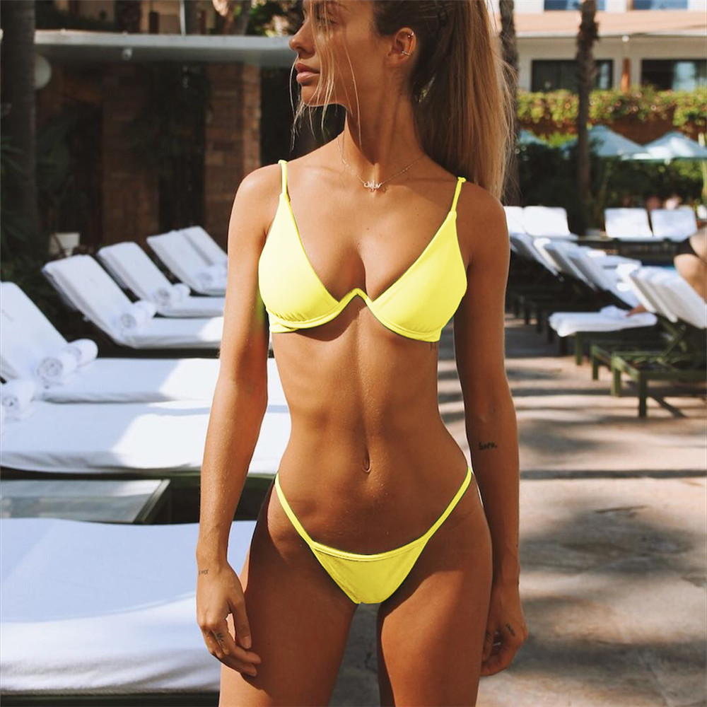 bikinis sexy bathing suits swim wear women 2018 white woman swimsuit brazilian bikini girls solid plus size leopard fashion in Bikinis Set from Sports Entertainment
