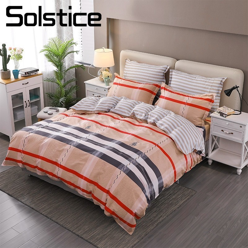 Solstice Home Textile Scottish Plaid Bedding Sets 100% Cotton Kid Teen Boy Girl Linen King Twin Duvet Cover Pillowcase Bed Sheet