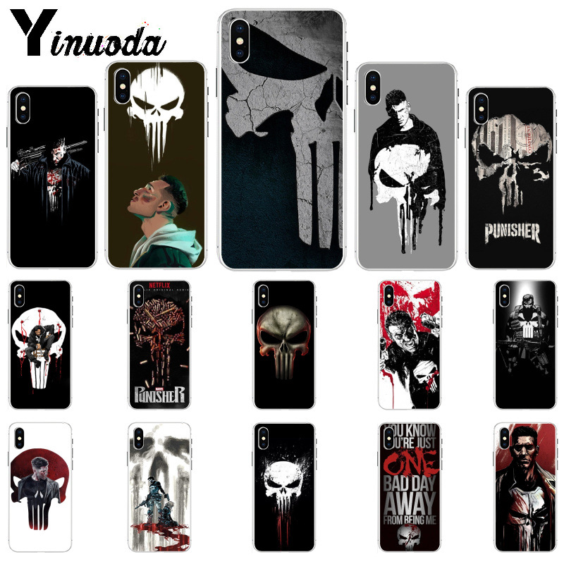 Yinuoda The Punisher Frank Castle Coque Phone Case for iPhone 8 7 6 6S Plus 5
