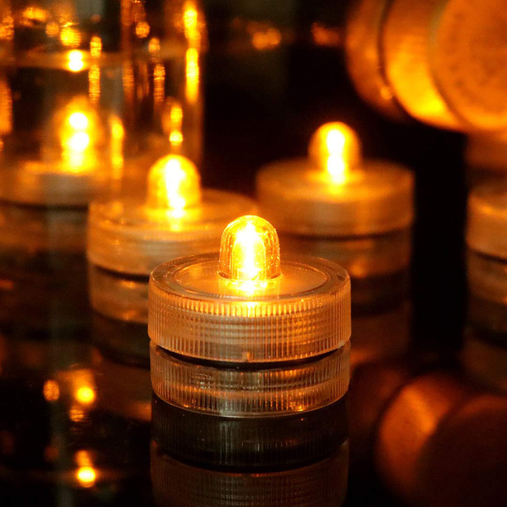 1Pcs Waterproof Wedding Underwater LED Tealight Submersible LED Candle Lights For Vase Floral Xmas Holidays Home Decor Lighting