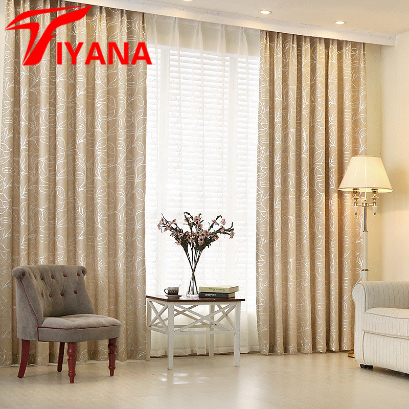 Tiyana modern silver leaves chenille blinds curtains - Modern curtain panels for living room ...