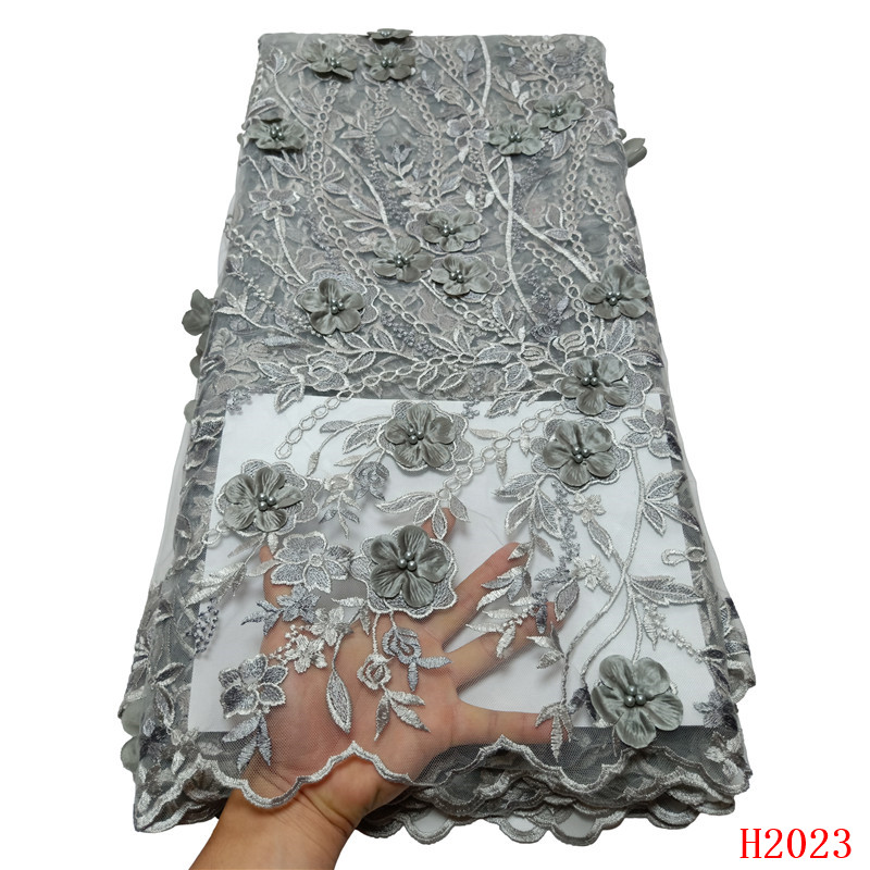 Beaded French Lace Fabric 2019 High Quality African Wedding Dress 3d Flowers Silvery Grey Mesh Lace Fabric for Party HX2023Beaded French Lace Fabric 2019 High Quality African Wedding Dress 3d Flowers Silvery Grey Mesh Lace Fabric for Party HX2023