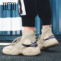 MumuEli Beige White Black New 2019 Designer Casual Breathable Shoes Men High Top Quality Fashion Luxury Flat Male Sneakers G077