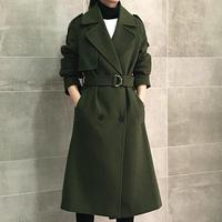 Hot sale 2018 New Fashion Retro double breasted cashmere winter jacket women coat long sections woolen coat