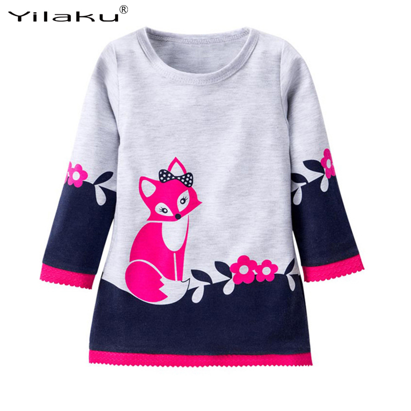 Yilaku Long Sleeve Baby Girls Dress Autumn Spring Cute Fox Print Girls Dresses Children Princess Lace Dress Kids Clothing CA470 girls europe and the united states children s wear red princess long sleeve princess dress child kids clothing red bow lace