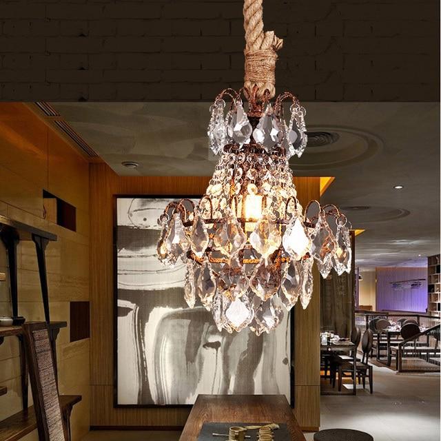 Salon 1 pcs Vintage rope lamp lustre Light showcase art decor pendant lights Bar hanging crystal lamp American vintage lighting