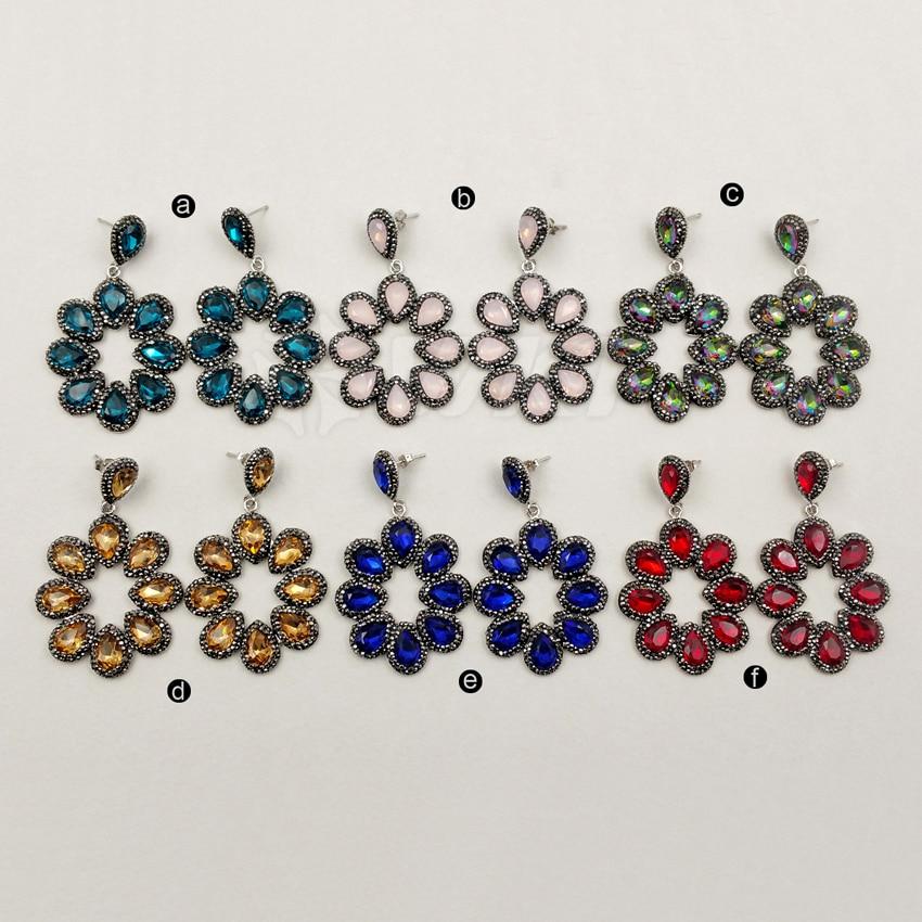 WT-RE044 Flower shape earrings pave golden rhinestone cat eye's stone drop dangle earrings gems stone jewelry