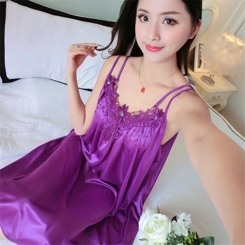 90f4a9958106 Summer Sexy nightdress New Pattern Ma'am Camisole Night Skirt Ice Silk  Female nightgowns ladies