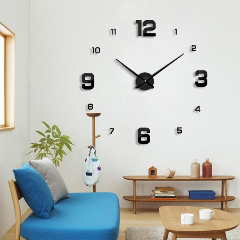 2020New Wall Clock Modern DesignHome Decoration Big Mirror  3D DIY Large Decorative Wall Clocks Watch Unique Gift Freeshipping
