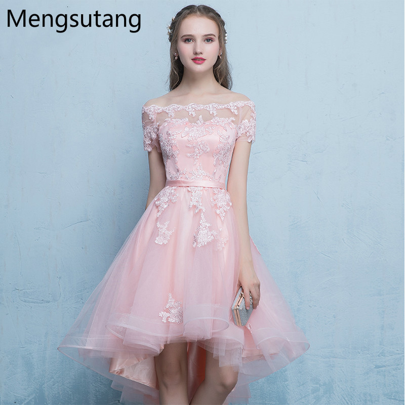 Robe de soiree Elegant pink Boat Neck slim lace up   evening     dress   with Appliques Party   Dresses   Prom   dresses   tailor Custom made