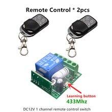 433 Mhz Universal DC 12 V 1CH Interruptor de Control Remoto Inalámbrico Módulo Receptor de relé y 2 unids Transmisor 433 Mhz Mandos a distancia