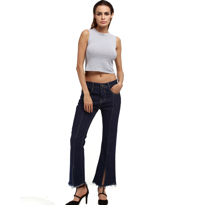 Europe And The United States Fashion Ankle-length Flare Trousers Large Women Plus Size Jeans S-5XL OHN2099 hanlu europe and the united states women s super elastic lace lvkong denim trousers fashion comfortable feet pants