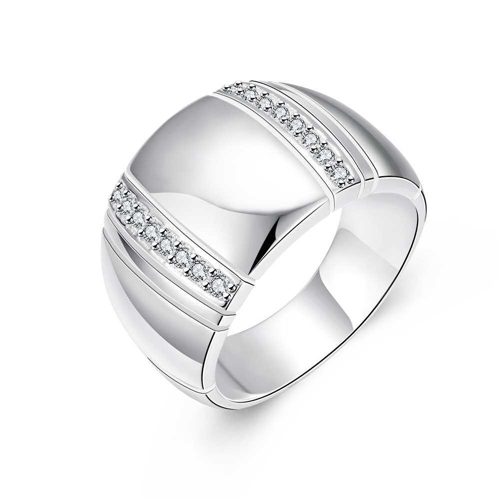 New Noble Wide Smooth Silver-plated Ring,Silver Fashion Jewelry,Japanese and Korean Personality Wide Inlay CZ Zirconia Rings