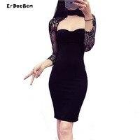 High Quality Women Autumn Winter Black Long Sleeve Lace Patchwork Bodycon Bandage Dress Mini Casual Dress