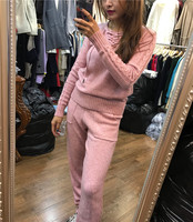 Tracksuits Hot Sale Top Fashion 2018 new V NECK knitted mink cashmere cashmere sweater jeans strap retro twist two piece