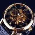 Recém Design de Relógios de Luxo Mens Steampunk Esqueleto de Aço Inoxidável Mecânico Automático do Relógio de Pulso Erkek kol saati 161223