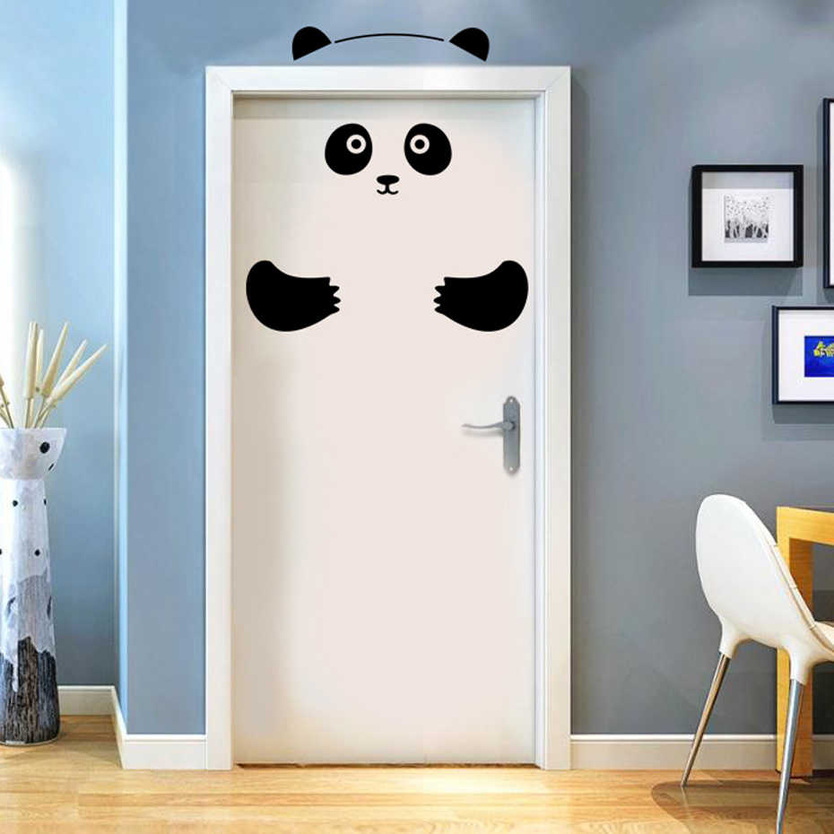 Panda Bear 3D Door Sticker Funny Door Window Fridge Decorations For Kids Room Home Decor Cartoon Animal Art Vinyl Decals
