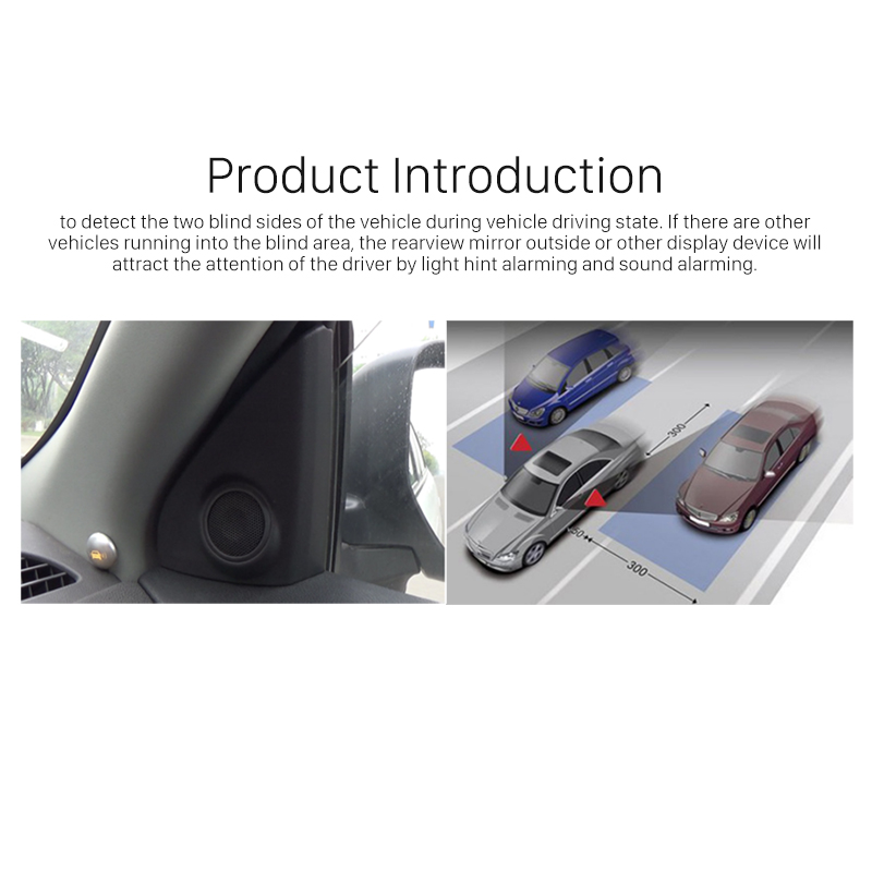 Seicane 2* radar sensors Rearview Mirror Active Area Waterproof Car Blind Spot Detection BSD System with Safety Buzzer Alarm - 4
