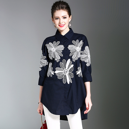 463984c26acf ... Tops Blusa Mujer K705558. High-end Cotton Floral Embroidery Shirt Women  Blouses Blouse Femme Ete 2019 Loose Navy Blue