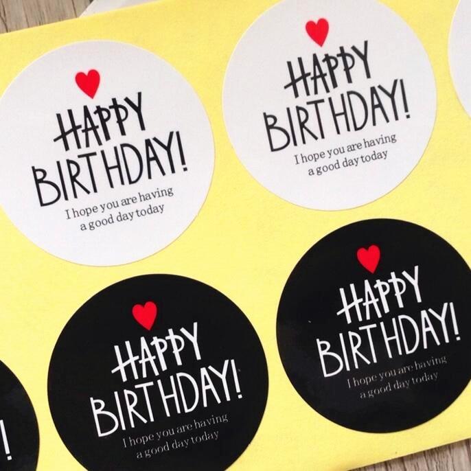 80pcs  Black & White HAPPY BIRTHDAY series Adhesive Kraft Seal Sticker for Baking Gift Label Stickers Funny DIY Work