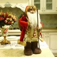 2015Hot Christmas Indoor Decoration 1 Pc Santa Claus With Black Bear Handicraft Father Christmas 22 43cm