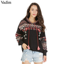 Vadim vintage totem geometrische borduurwerk hooded sweatshirt oversized lovertjes lange mouw trui casual tops sudaderas SW1211(China)