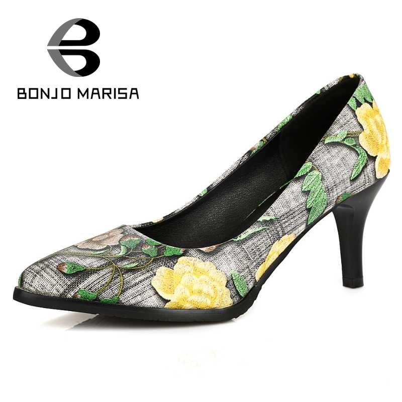 ФОТО BONJOMARISA Flower Print Women Pumps Sexy High Heel Pointed Toe Platform Shoes For Party Wedding Spring Autumn Big Size 33-42