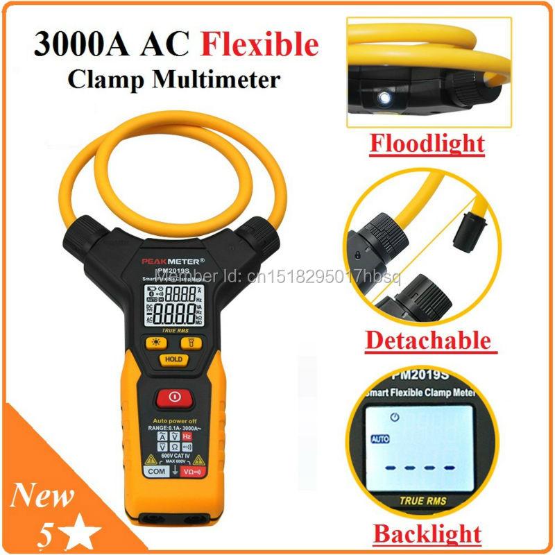 PeakMeter  Auto Range Multimetro Digital Flexible Clamp Meter 3000A AC Ammeter 6000 Count Multimeter MP2019S
