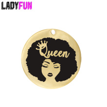 Ladyfun Customizable Queen Pendant Charm Round 25mm Afro Woman American Girl Lady Charms Gifts For Her