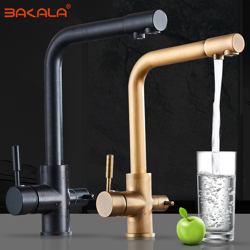 BAKALA Black Kitchen Faucet Antique Brass Kitchen Filter Taps Faucets Kitchen Sink Mixers Tap Water Purified Faucet BR-360004