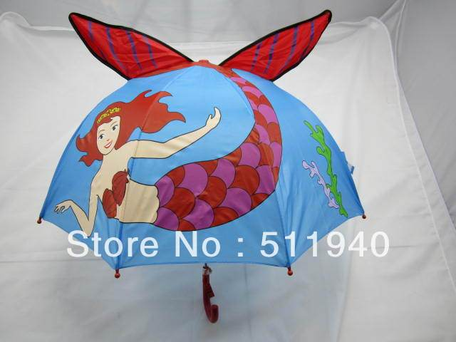 Free Shipping !! Lovely red color  mermaid pattern kids cartoon umbrella, with whistle