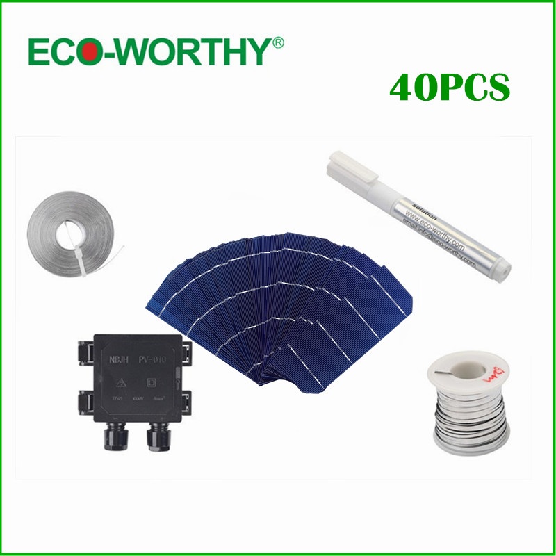 ECO-WORTHY 40pcs 6x2 Monocrystalline Solar cell Tab Wire Bus Wire Flux Pen Junction Box Solar Cell 156*58mm for DIY Solar Panel 40pcs 6x6 full solar cell kits 156 polycrystalline solar cells tabbing wire bus soldering iron flux pen for diy 160w solar panel