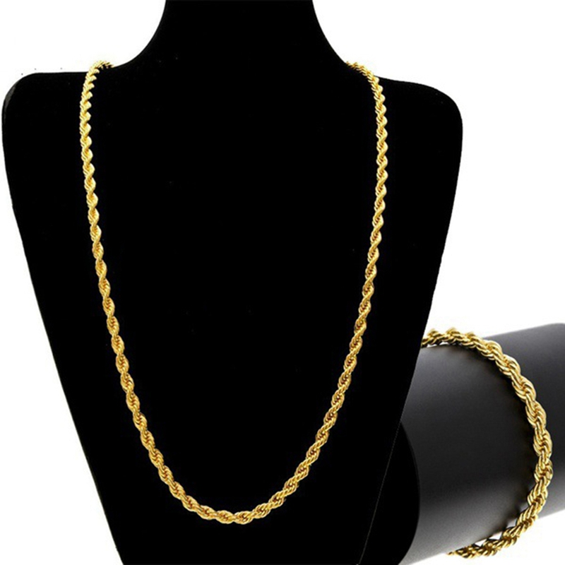 Classic Hot Style Wide Rope Chain Men's Hip-hop Gold&Silver Color Twist Chain Men Bracelet Necklace Jewelry Set