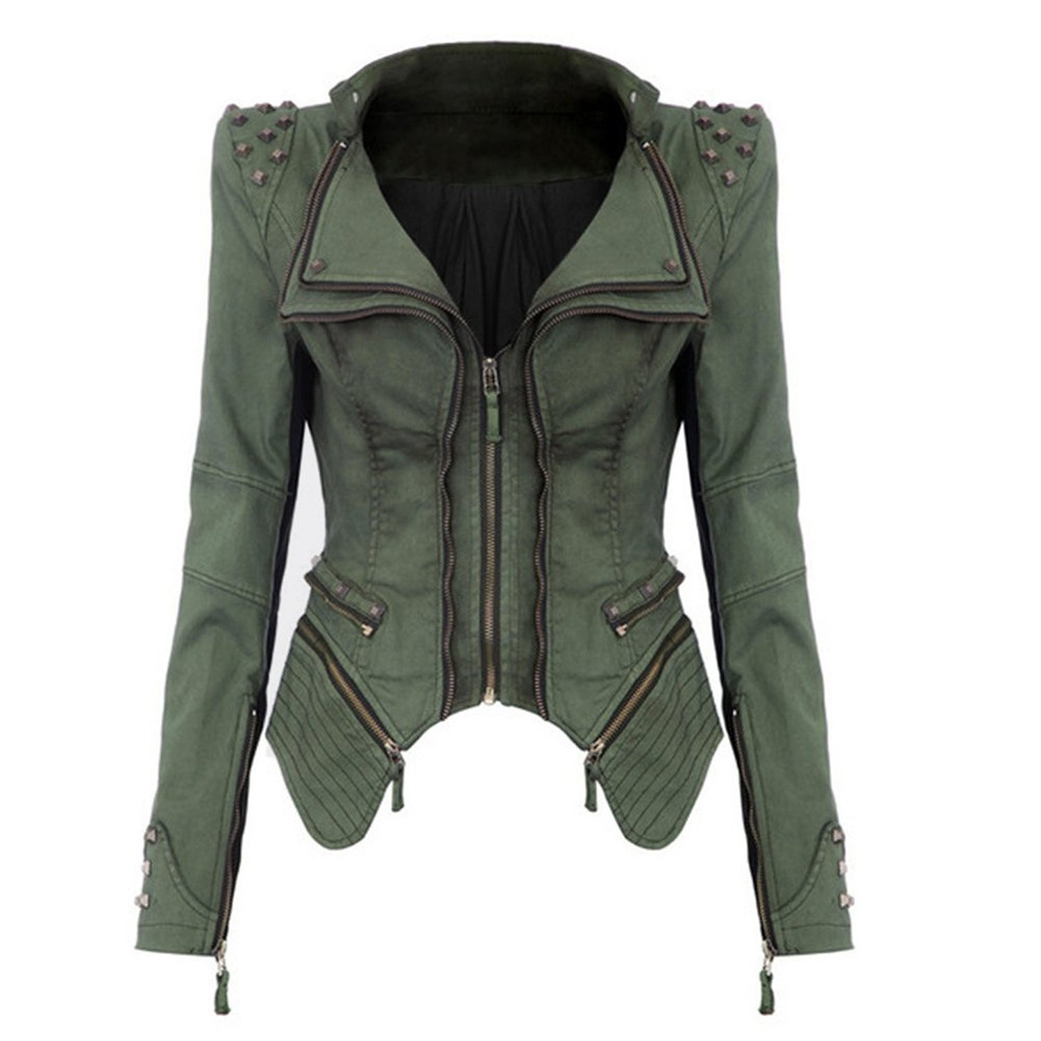 Women Denim Jacket Punk Style Rivet Studded Lapel Coat