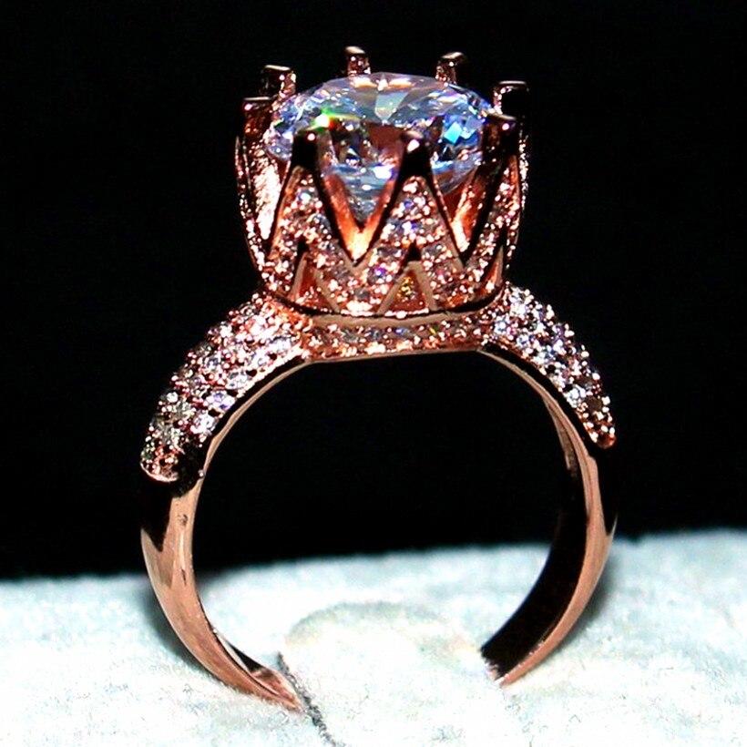 Choucong Bijoux De Mode 925 Sterling silver & Rose gold filled AAAAA Zircon Couronne anneaux Cocktail De Mariage Bague pour les Femmes