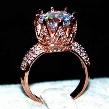 358369f4271e Choucong joyería de moda Plata de Ley 925 y oro rosa llena aaaaa ZIRCON  corona anillos de cóctel anillo de la boda para las mujeres