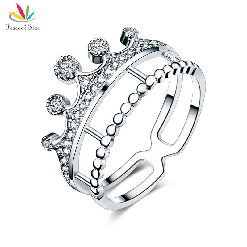 Peacock Star Solid 925 Sterling Silver Ring Crown Shape CZ for Lady Trendy Stylish Jewelry CFR8277 graceful solid color rhinestone crown shape ring for women