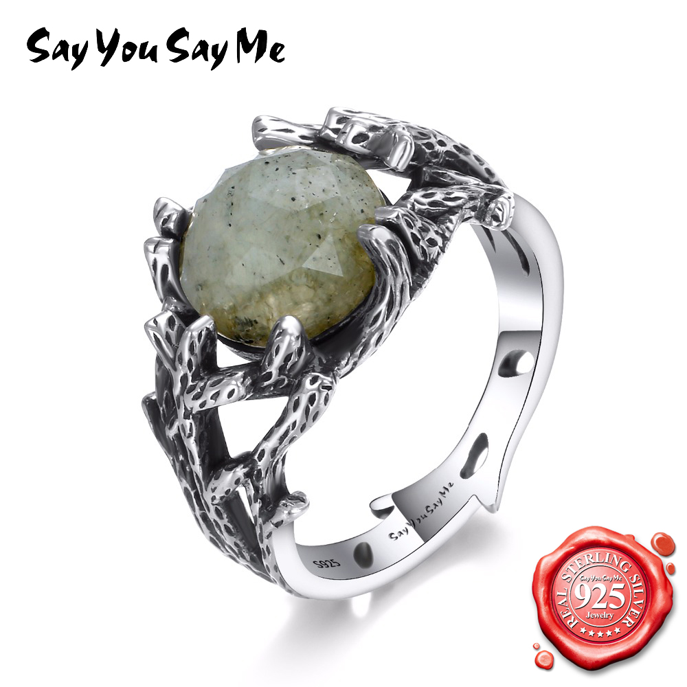 Say You Say Me 925 Sterling Silver Ring Hollow Wedding Rings for Women Creative Plants Coral