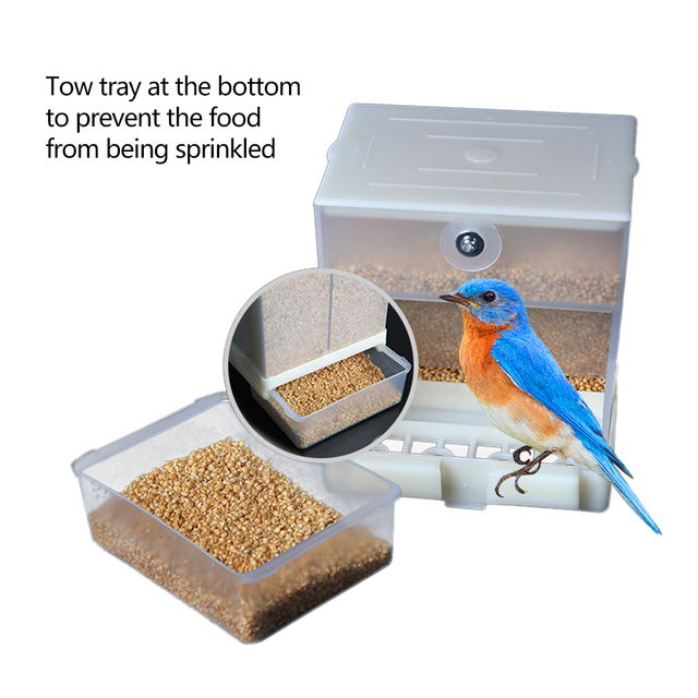 Pet Birds Automatic Seed Feeder Parrot Cage Feeder Box 440ml/850ml Capacity