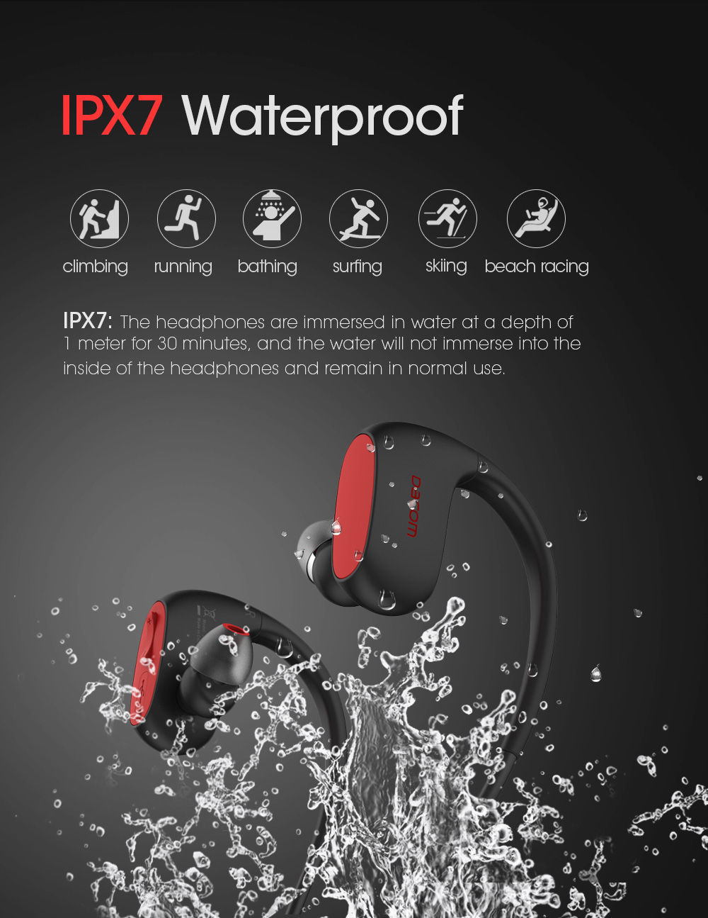 81fabc6778c ... DACOM L05 Sports Bluetooth Headphones Bass IPX7 Waterproof Wireless  Earphones Stereo Headset with Microphone for iPhone ...