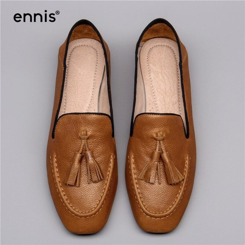 3905d65fa57 ENNIS 2018 Sqaure Toe Women Tassel Loafers European New Designer Mules Shoes  Slip On High Quality
