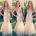 Lujo 2016 nueva Sexy blanco sirena con cuentas cristales tul sirena vestido de noche vestido Formal robe de soirée vestido de festa