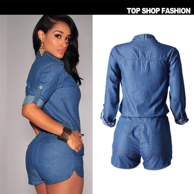 19b0cc34e2c placeholder Fashion Overalls Women High Quality Combinaison Short Femme  Tencel Jumpsuits Hot Jeans Women Rompers Push Up