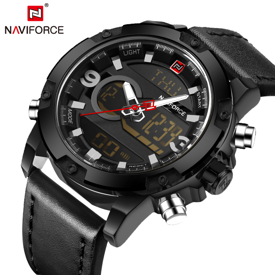 все цены на NAVIFORCE Mens Watches Top Luxury Brand Fashion Casual Sport Black Leather Watch Male Clock Man Army Military Quartz Wristwatch