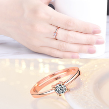 Rose Gold Crystal  Zircon Opening Ring for Womens Four Claw Engagement Rings Fashion Jewelry