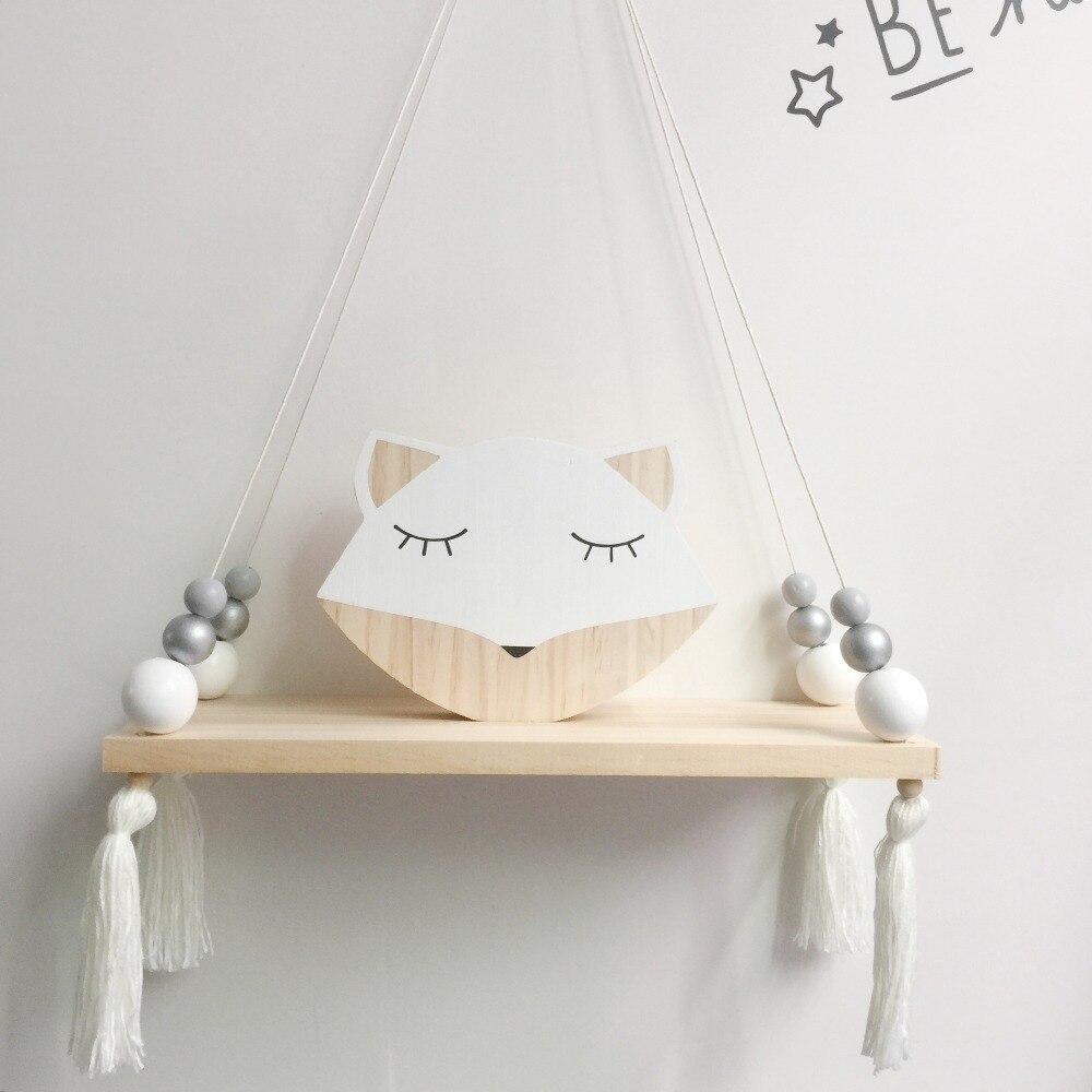 Rack decorativo bonito criativo quarto dos miúdos decoração prateleira de madeira para o quarto do bebê contas de madeira de pinho Log prateleiras para quarto de crianças